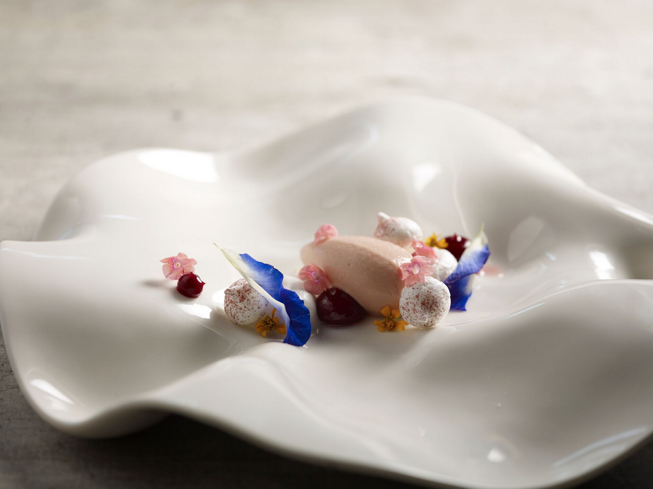 Guava yoghurt sorbet, lychee-coconut mousse, raspberry puree, rose meringue with Hibiscus powder